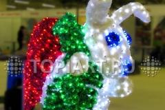 """Уличная новогодняя светодиодная фигура """"Заяц с морковкой"""""""