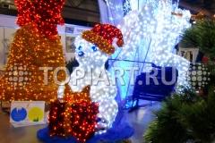 """Новогоднее оформление помещений, световая фигура """"Медведь с подарком"""""""