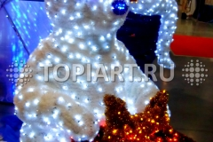 """Новогоднее украшение магазинов - светящаяся композиция """"Медведь с подарком"""""""