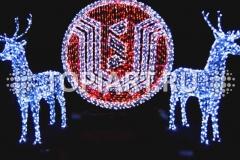 """Новогоднее украшение зданий. Объемный светящийся логотип. Световые фигуры """"Олени""""."""