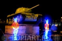 """Новогоднее оформление муниципальных объектов, светящиеся скульптуры """"Солдаты"""""""