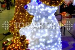 """Световое праздничное оформление зала 3D led фигура """"Медвежонок с подарком"""""""
