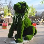 """Зеленая фигура из искусственного газона """"Лев"""""""