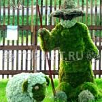 """Топиарные фигуры их мха """"Пастух с овечкой"""""""